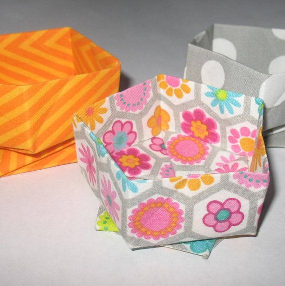 Fabric Origami Catch All Set Organizers by ColieArtBooksnBoxes
