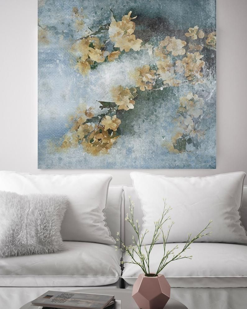 Spring Cascade Blue Yellow Rustic Floral Painting Rustic Etsy Floral Painting Oversized Canvas Art Floral Wall Art