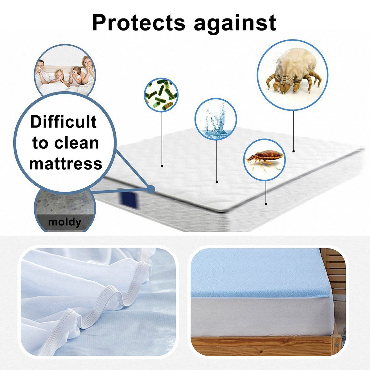 Colorxy Cal King Mattress Protector Waterproof Hypoallergenic Soft Cotton Quiet Fitted Sheet Mattress Protector Cove Cal King Mattress Dust Mites King Mattress