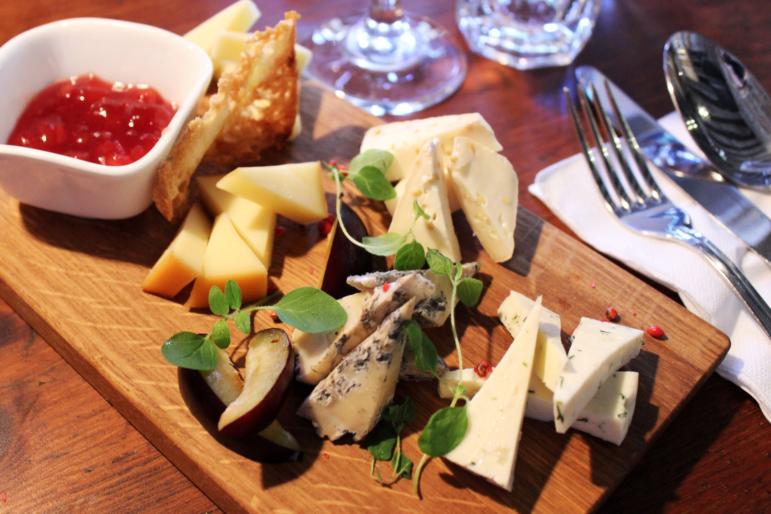 Delicious selection of cheeses