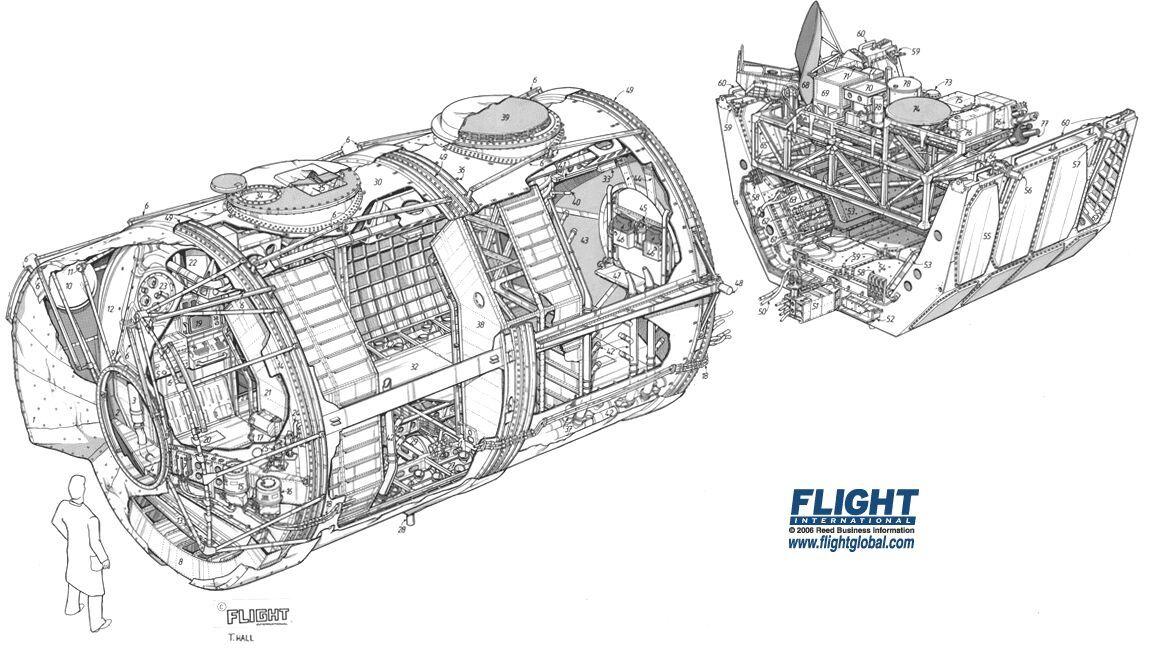 spacelab module and pallet cutaway