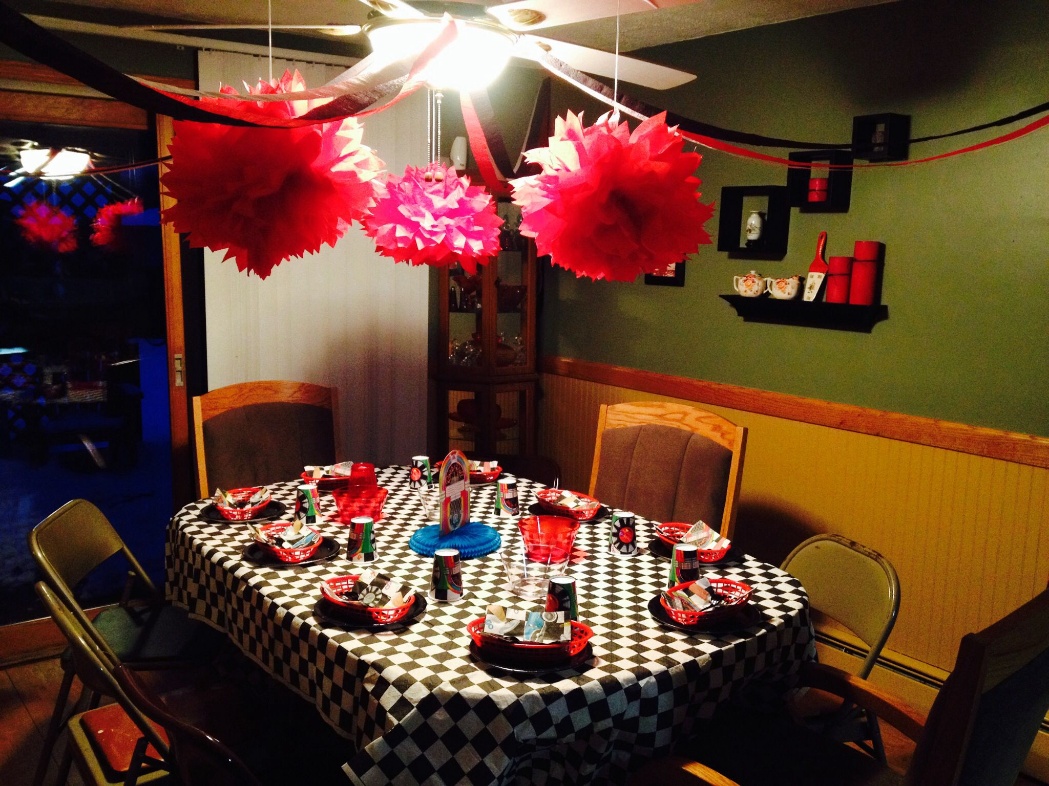 Grease Sock Hop 50u0027s Themed Birthday Party. Table Decor.