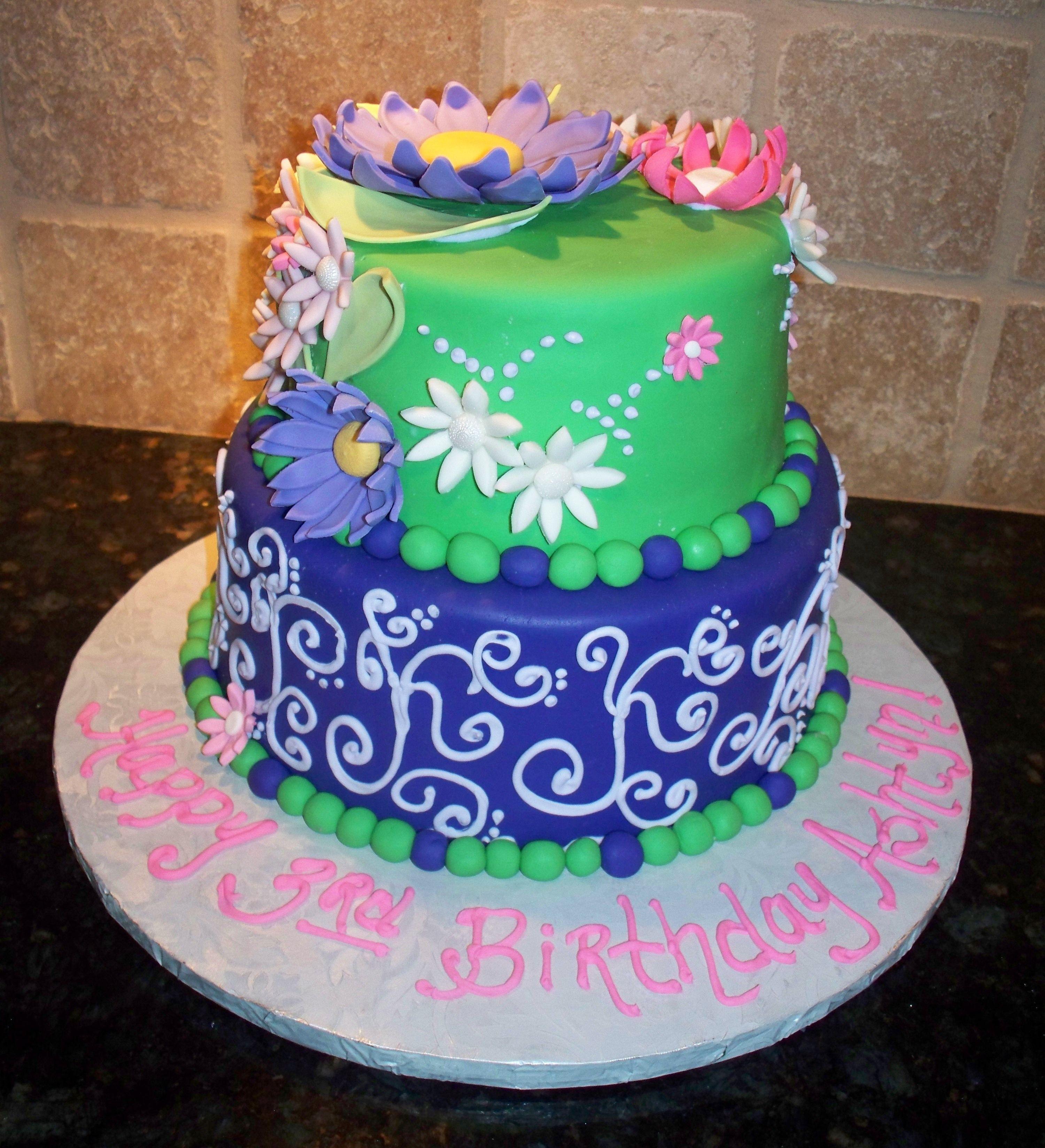 Ashtyn's Cake - Fondant cake with fondant/gumpast flowers