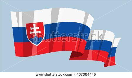National flag vector editable banner ribbon country world Slovakia Europe - stock vector