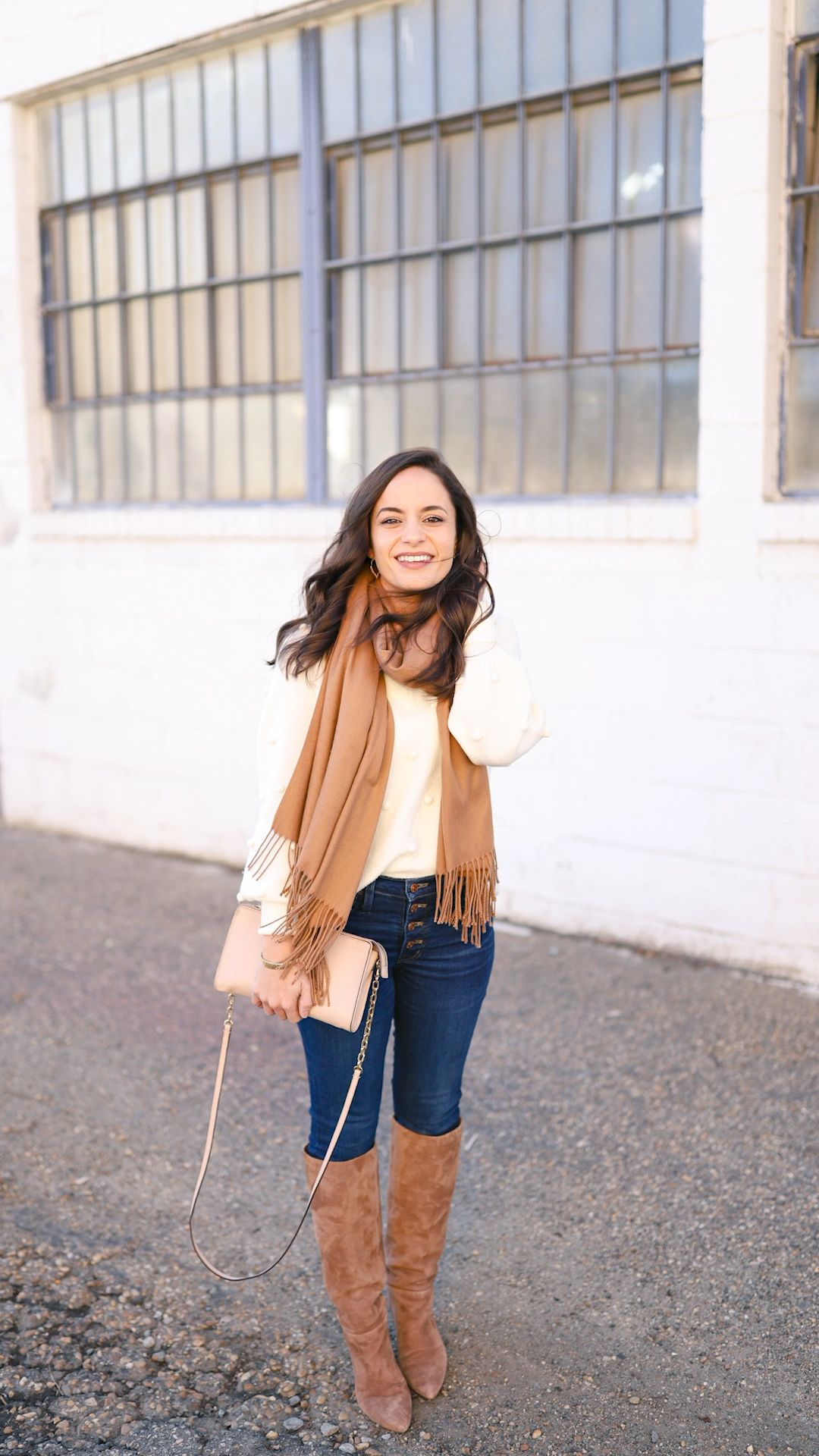 White sweater from Madewell styled three ways for winter. Styled by petite style blogger, Brooke of Pumps and push-ups.