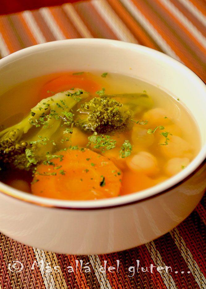 Más allá del gluten...: Sopa Con Verduras y Garbanzos (Receta GFCFSF, Vegana)