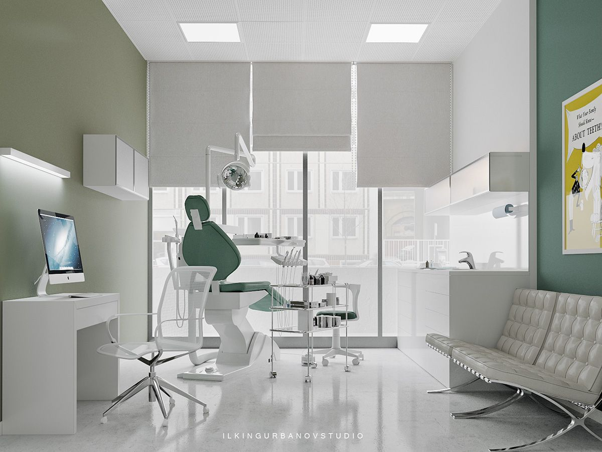 Dental clinic digital art interior design minimalist style visualization dental Interior design visualization