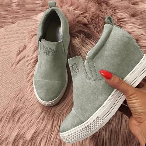 Fashion Letter Slip On Wedge Sneakers Faux Suede Wedge Heel