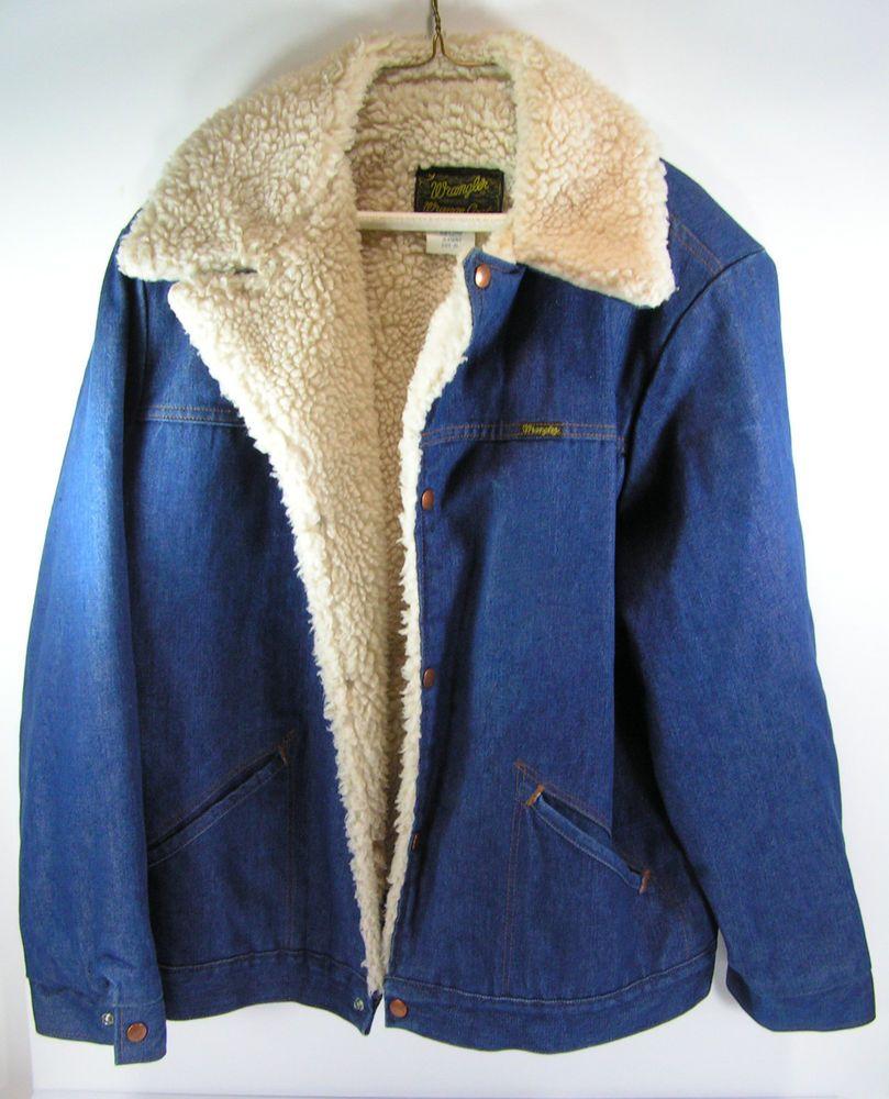 35ba8b8db2a vintage wrangler denim jacket mens XL sherpa lined insulated blue jean  cowboy us  Wrangler  DenimJacket