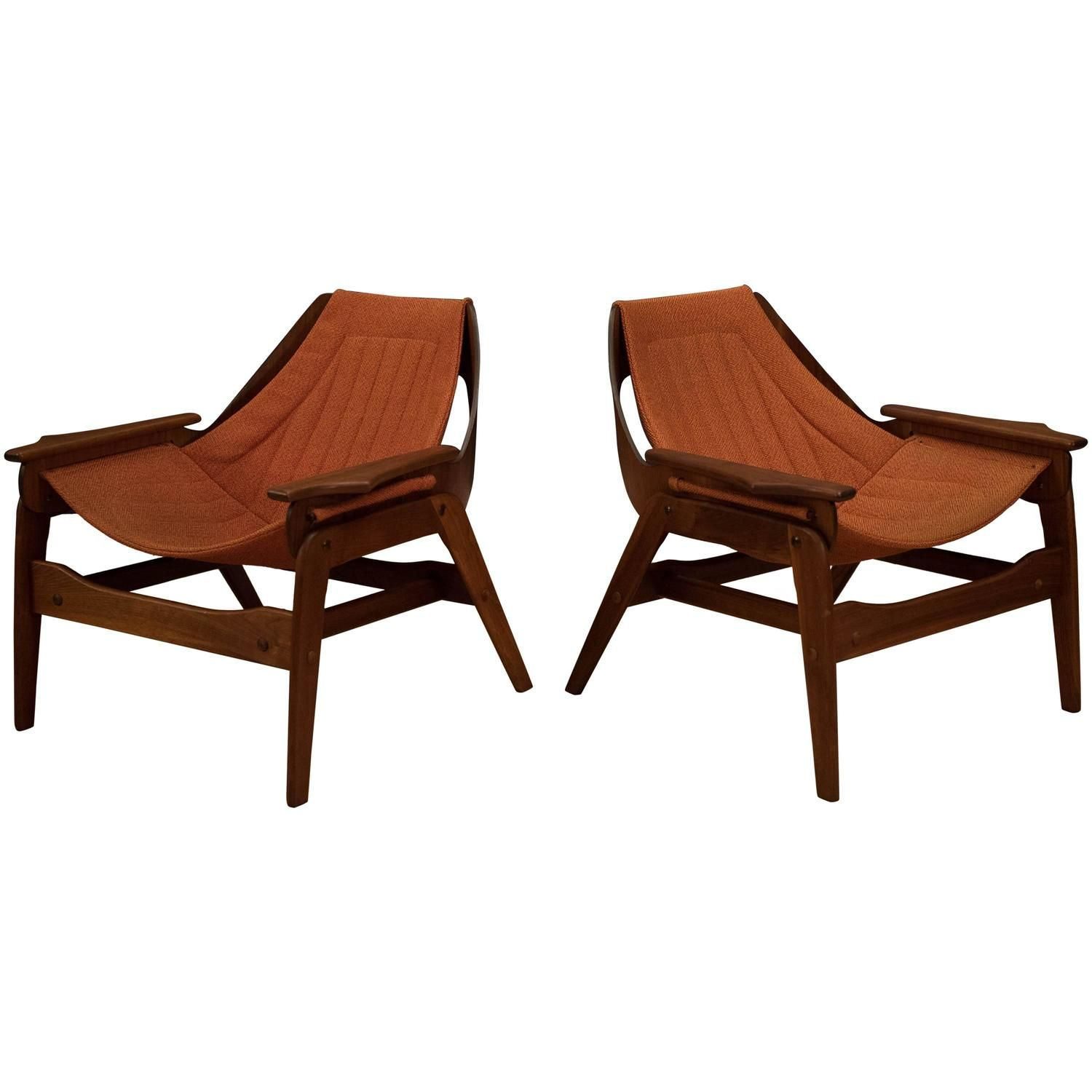 Antique lounge chairs - Mid Century Jerry Johnson Walnut Sling Chairs