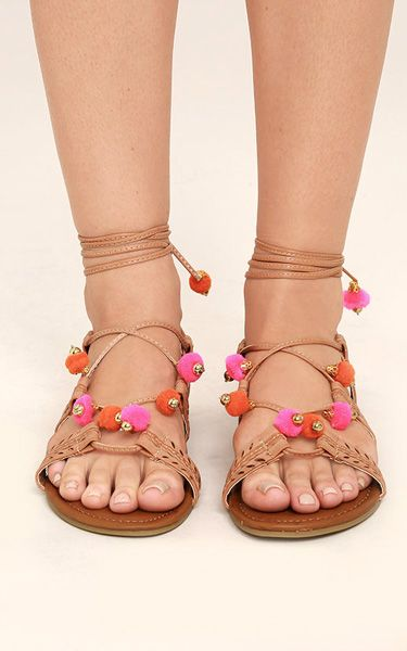 afcf6fc2418 Madden Girl Baliee Natural Lace-Up Pompom Sandals via  bestchicfashion