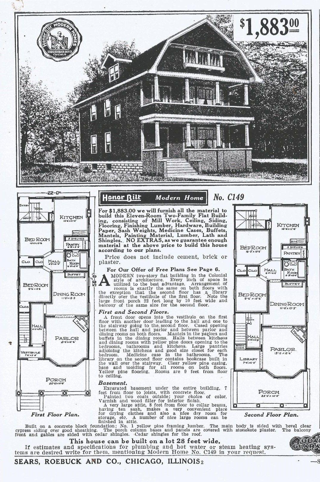 Sears Oakdale 1909 1911 149 1912 149 1913 149 1914 1915 1916 149 1917 C149 1918 Architectural Floor Plans Multi Family Homes Vintage House Plans