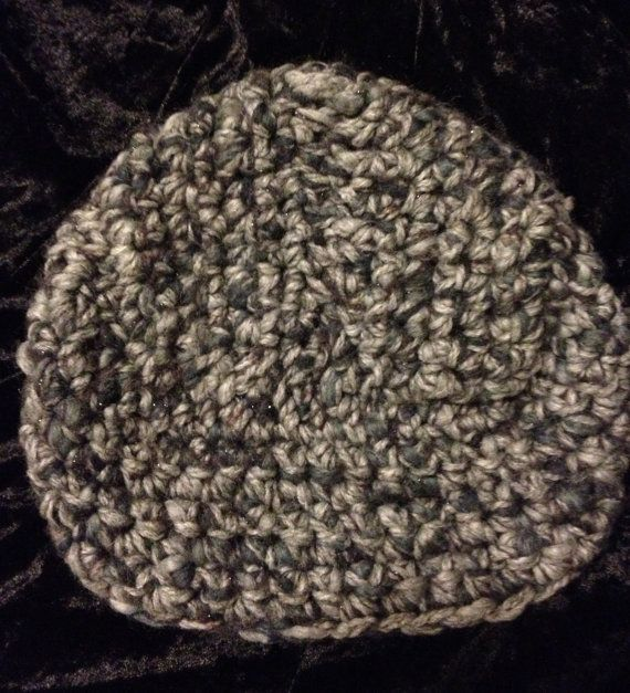 Grey knit turban  hand crochet turban hat in recycled by miscusi, $35.00