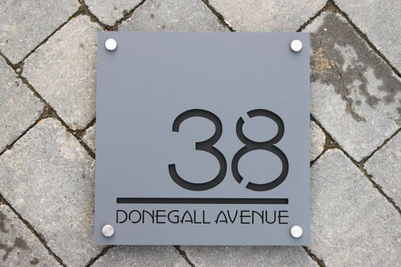 Contemporary House Number Door Sign. Square Plaque, Extra