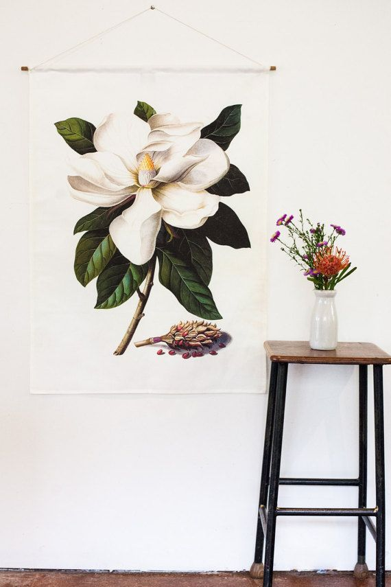 Magnolia Flowers Wall Decal Floral Wall Decals Flower Wall Stickers Flower Wall Decals