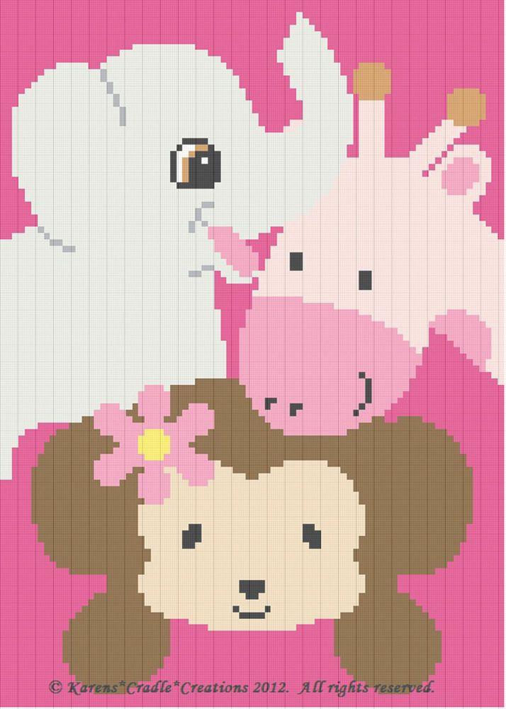 Crochet Patterns-SAFARI ANIMALS-Monkey/Elephant/Giraffe Baby GIRL ...