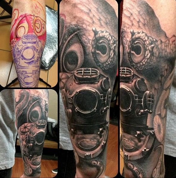 deep sea diver helmet tattoo the image kid has it. Black Bedroom Furniture Sets. Home Design Ideas
