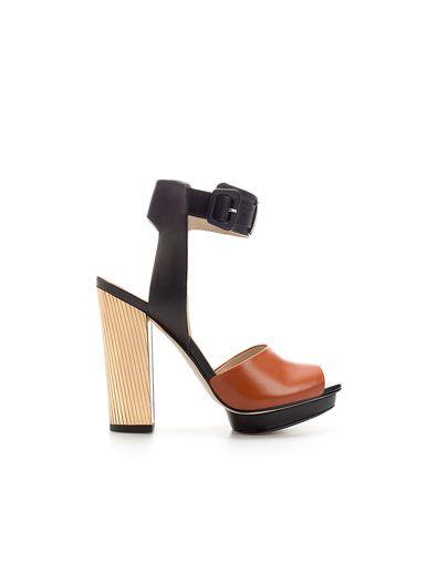 LAMINATED HEEL SANDAL - Woman - Shoes - ZARA United States