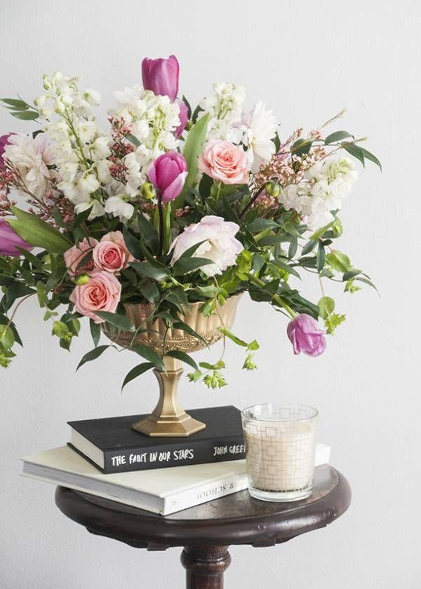 Diy Footed Gold Flower Vase Confetti Flowers Pinterest