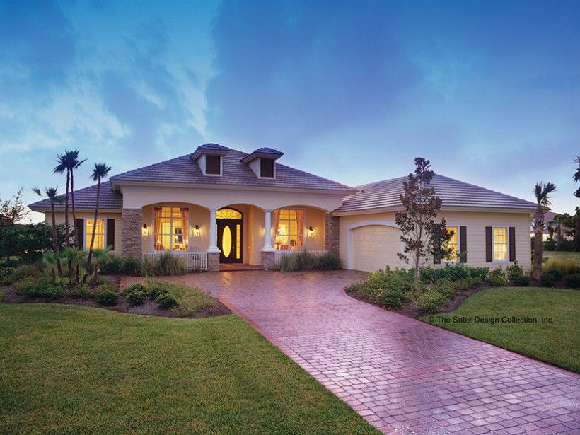 Mediterranean Modern Style 1 story 3 bedroomss House Plan with