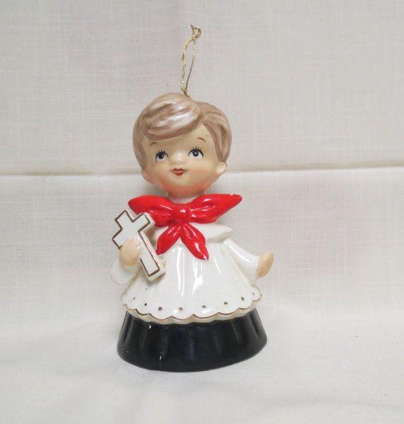 Items Similar To Vintage Santa S Workbench Dickens Choir: Vintage 1950's Choir Boy Christmas Ornament Bell Ceramic