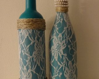 teal chalk painted wine bottles with twine and metal flowers. Black Bedroom Furniture Sets. Home Design Ideas
