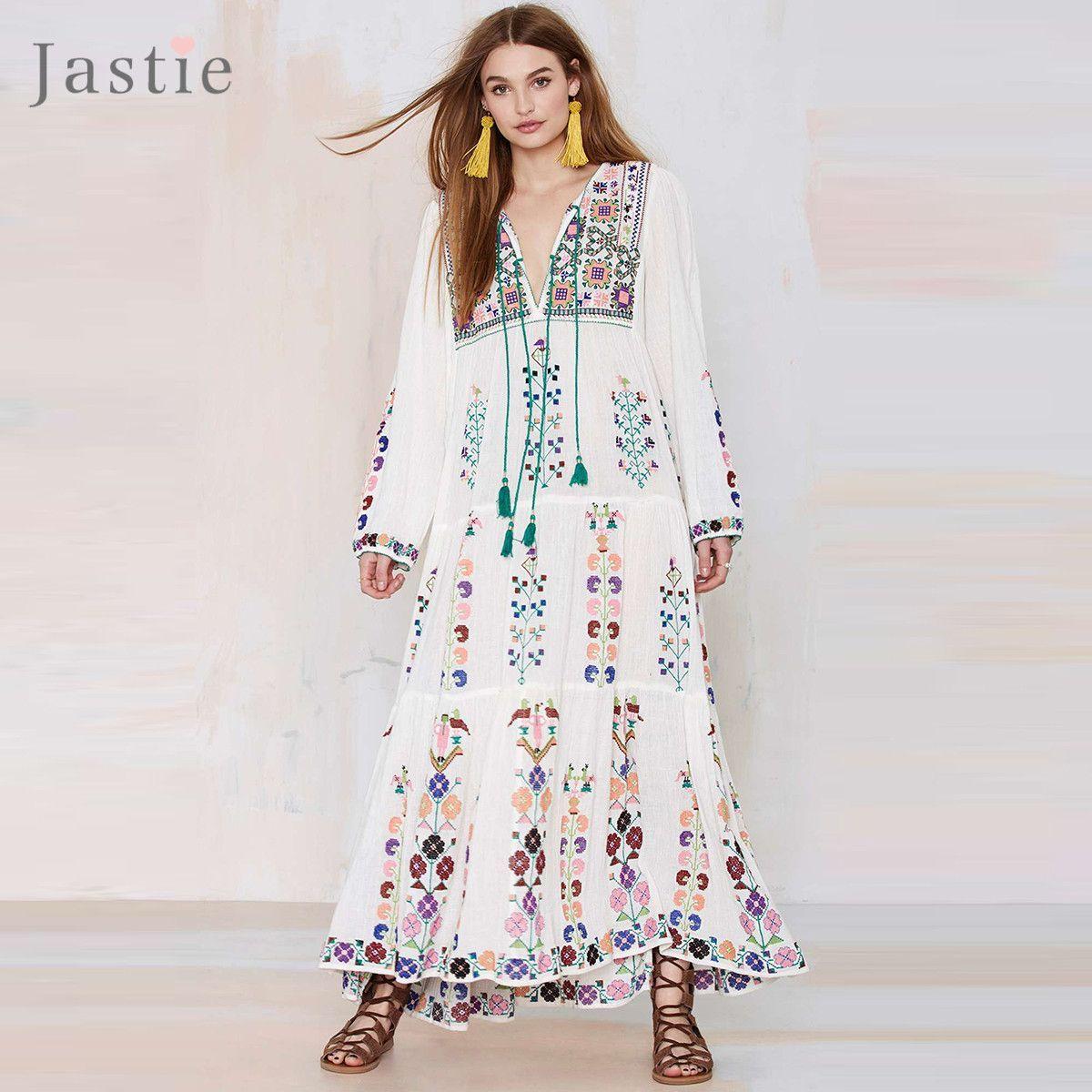 6810fae0add Jastie Floral Embroidered Maxi Dress Tassel V-Neck Long Sleeve Summer Dress  Vintage Boho Chic Beach Style Dresses Vestidos