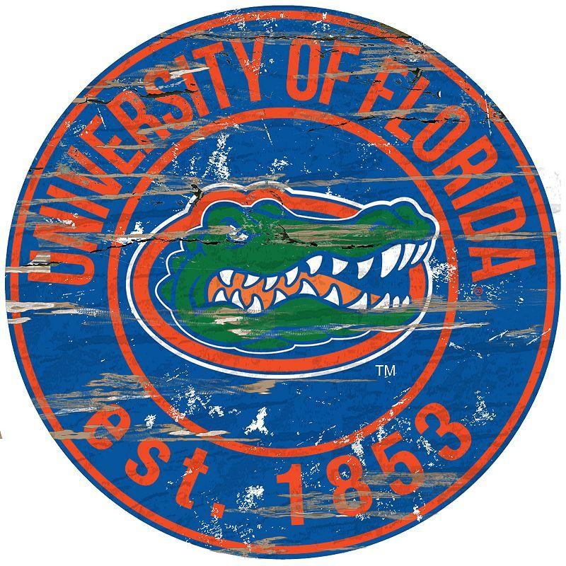 "Florida Gators Distressed 24"" x 24"" Round Wall Art, Multicolor"