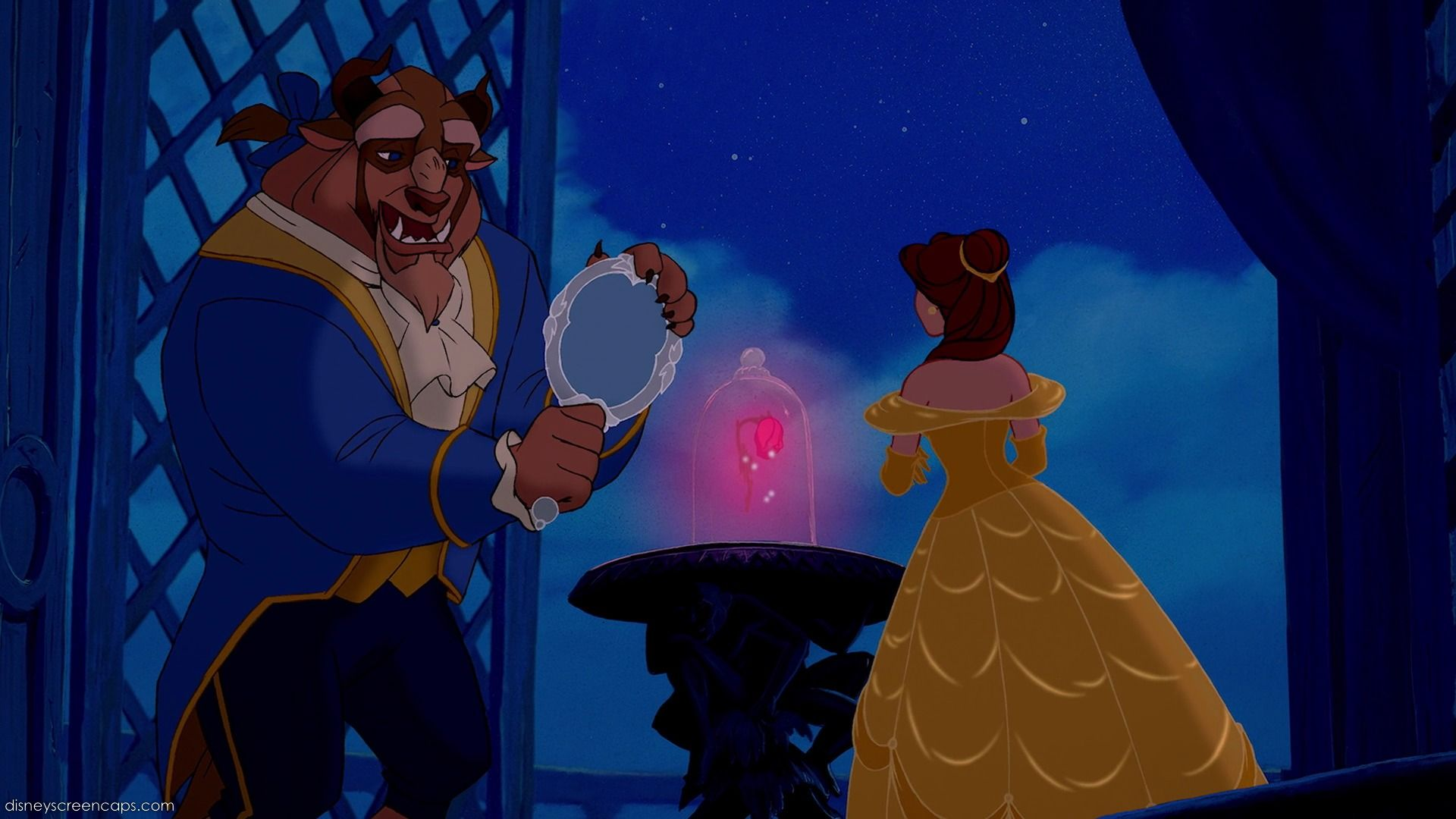 the beast shows belle his magic mirror to let her see her