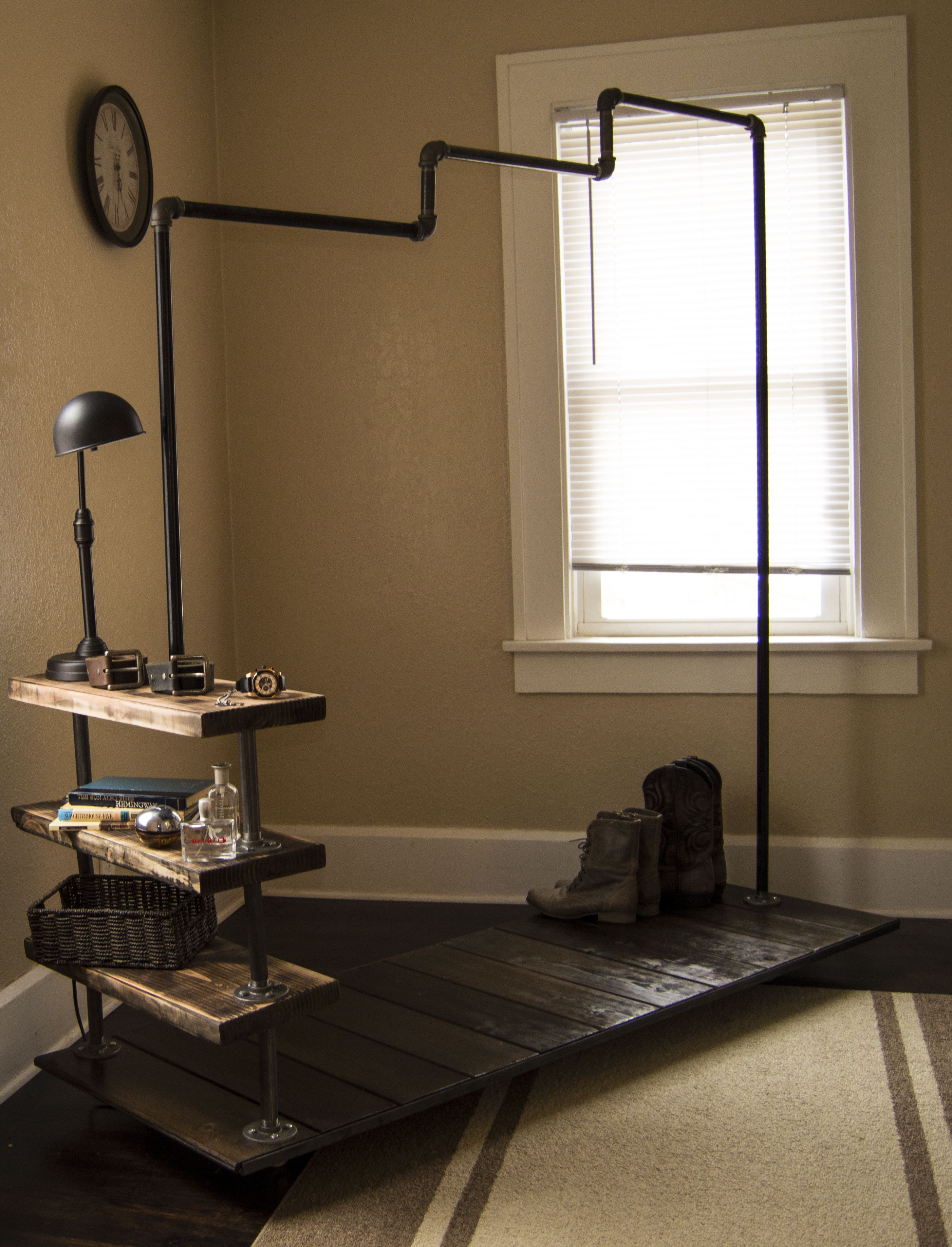 Industrial loft style clothes rack my future space pinterest