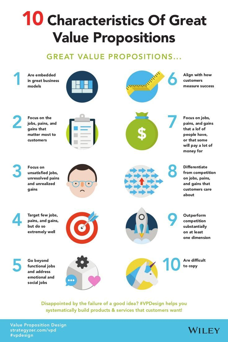 10 Characteristics of Great Value Propositions by Wiley Publishers via slideshare #infographics. If you like UX, design, or design thinking, check out theuxblog.com