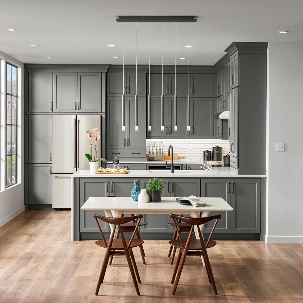 American Woodmark Custom Kitchen Cabinets Shown In Industrial Style Hdinstbl The Home Depot In 2020 Custom Kitchen Cabinets Kitchen Cabinet Styles Kitchen Remodel