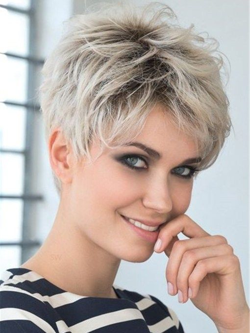 Short Choppy Pixie Cut Hairstyles Women's Blonde C