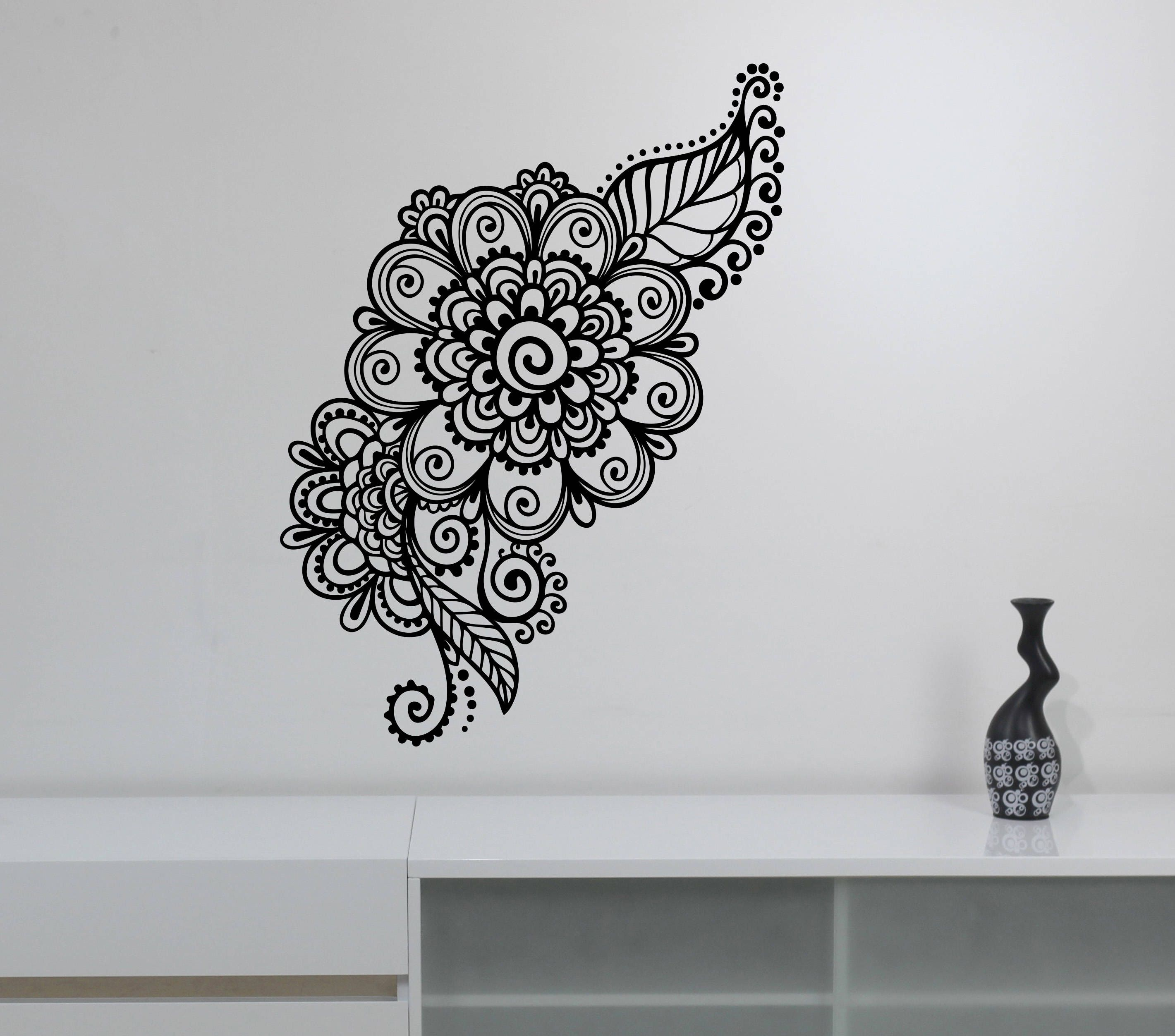 141d91183 Mehndi Wall Sticker Henna Paisley Flowers Vinyl Decal Floral Pattern  Ornament Art Decorations for Home Room