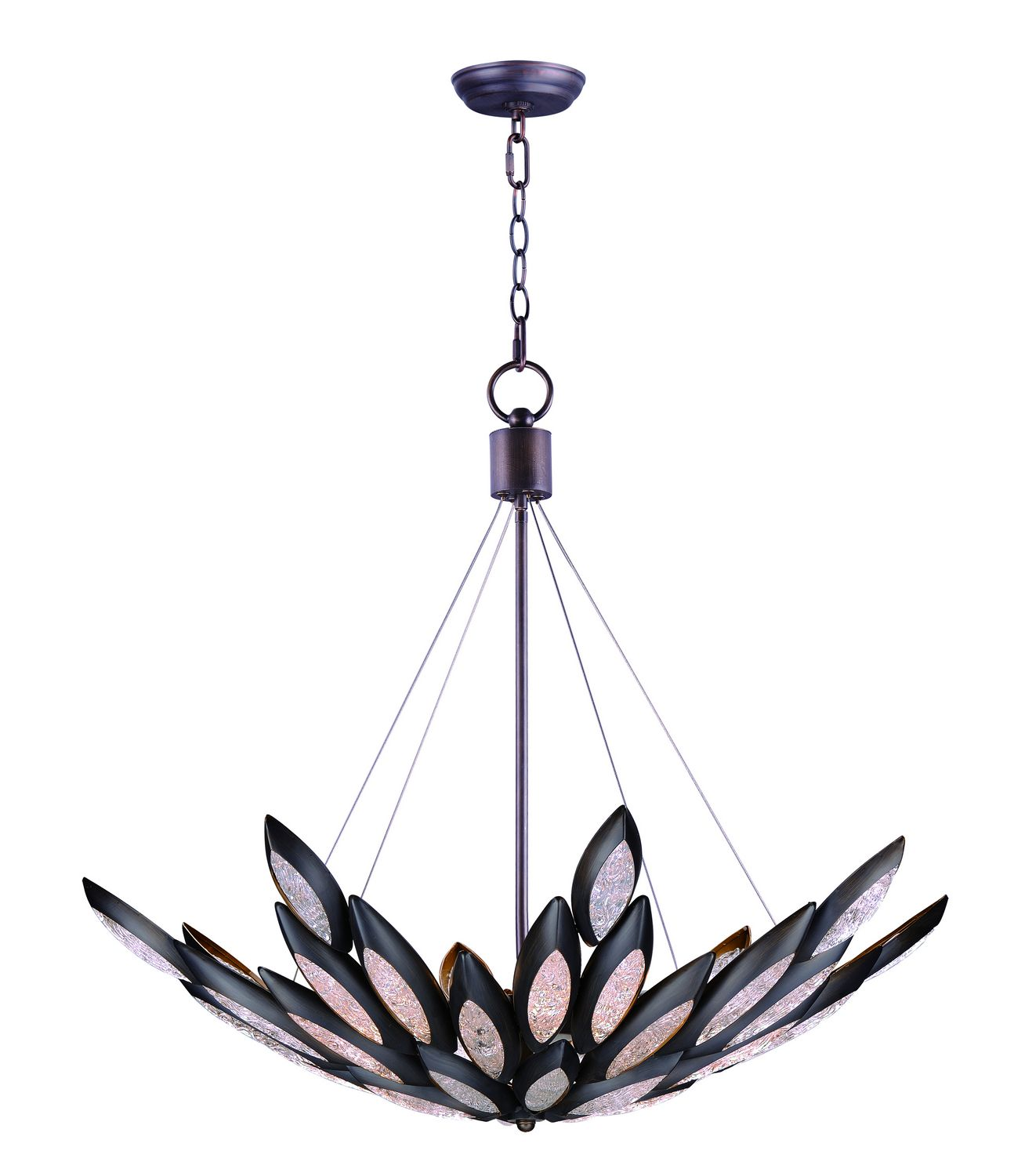 7dcda2473a46 Formed metal leaves finished in Burnished Bronze with insets of clear Ice  glass shimmer when illuminated by powerful Xenon lamps.