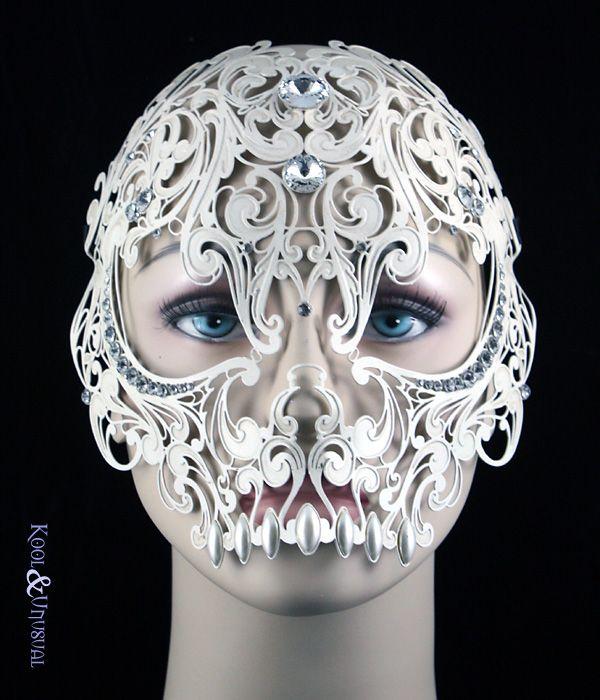 Day of The Dead White Skull Venetian Laser Cut Masquerade Mask w// Rhinestones