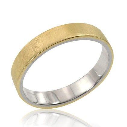 14k Gold Mens Inlay Wedding Band