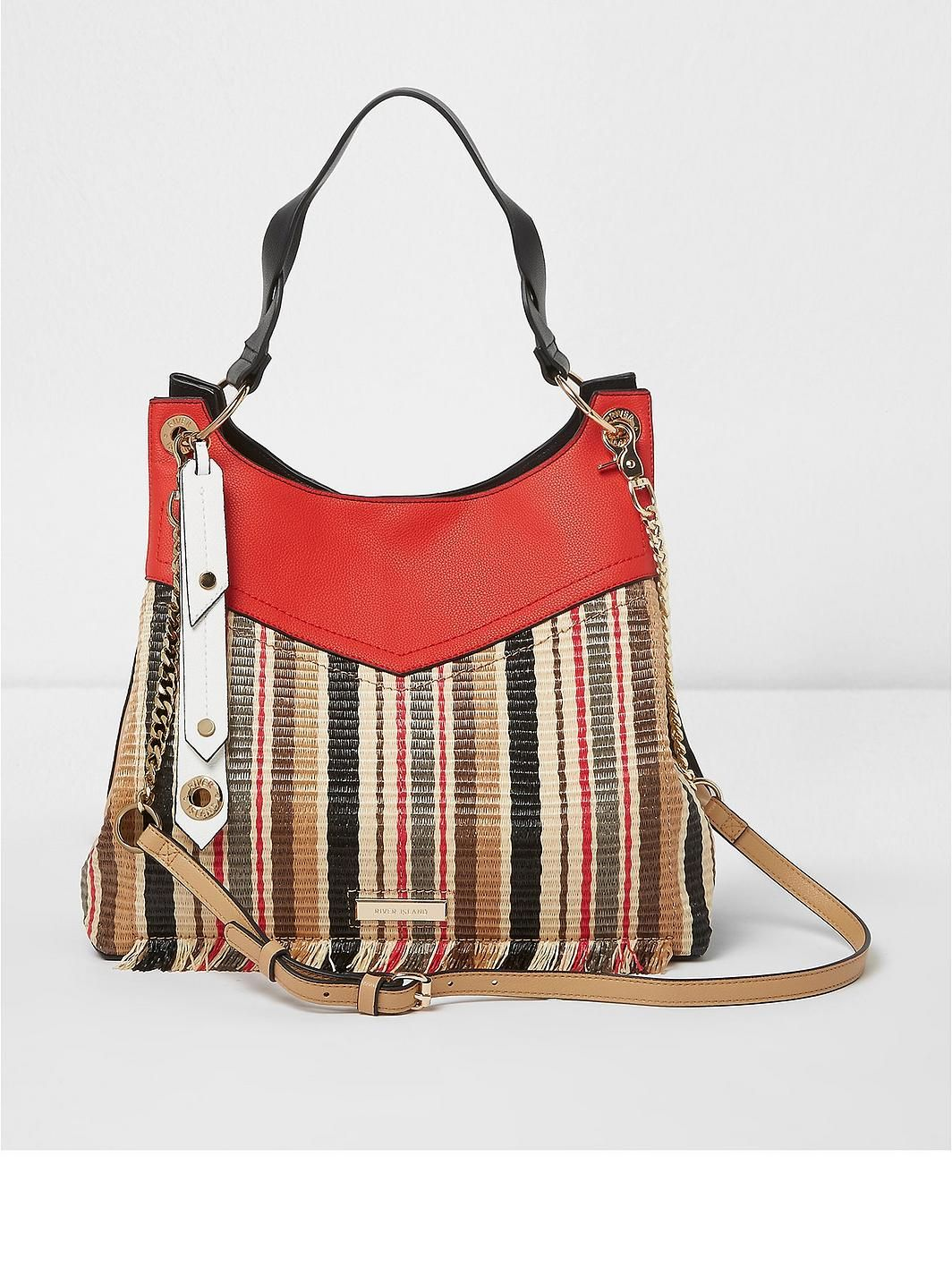 River Island Multi Coloured Weave Stripe Slouch Bag S