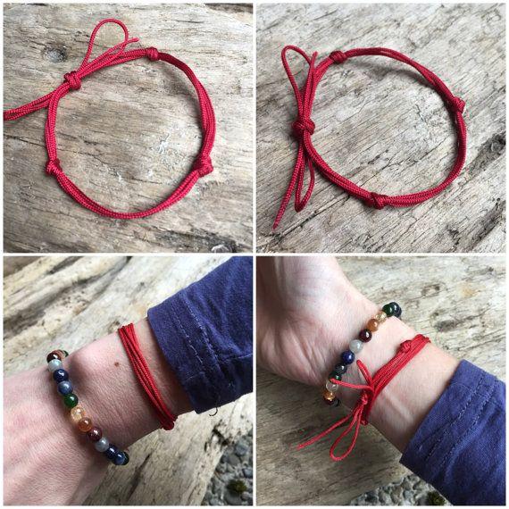 Red String Kabbalah Bracelet Buddhist Three Jewel Tie Yoga B035