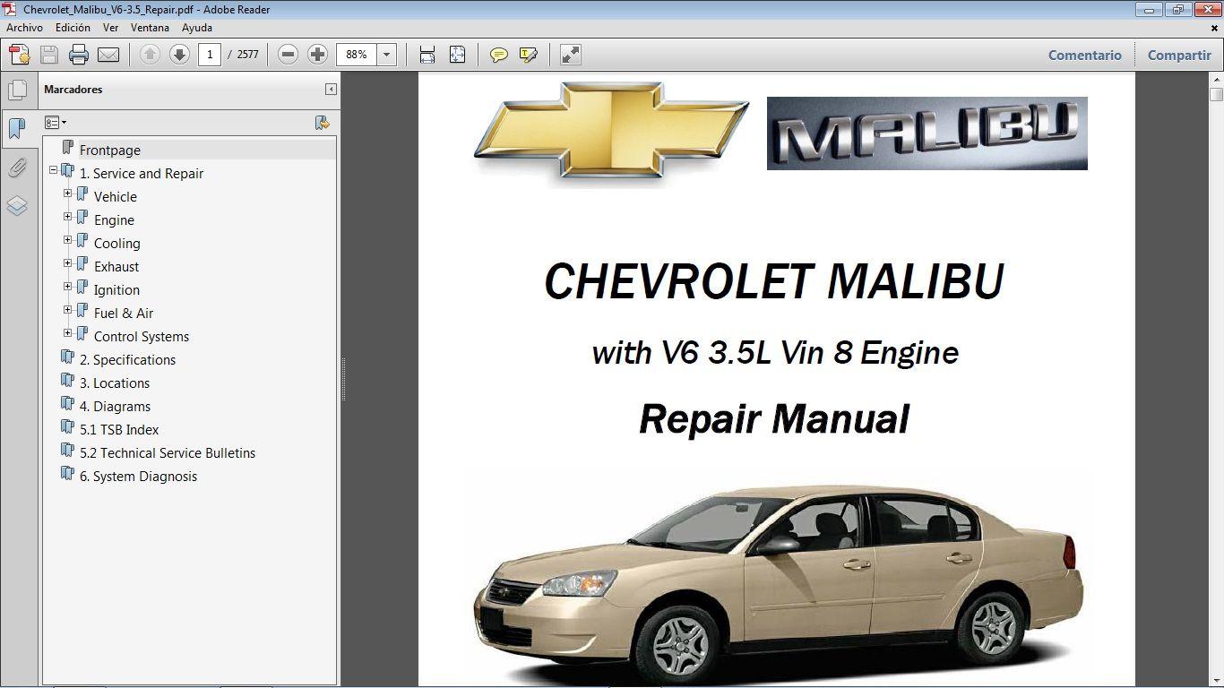 Chevrolet Malibu V6 3 5l Workshop Repair Manual Manual De Taller Chevrolet Malibu Repair Manuals Malibu