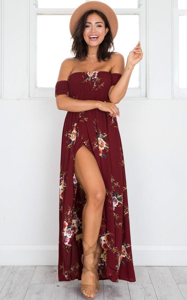81d32d5798e Showpo Lovestruck Maxi Dress in wine floral - 6 (XS) Maxi Dresses