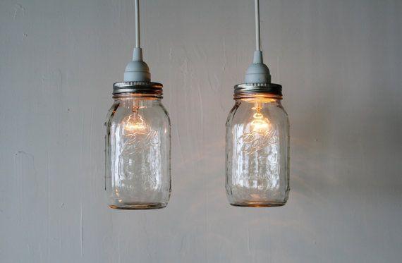 Pair Of Mason Jar Hanging Pendant Lights Upcycled Rustic Mason