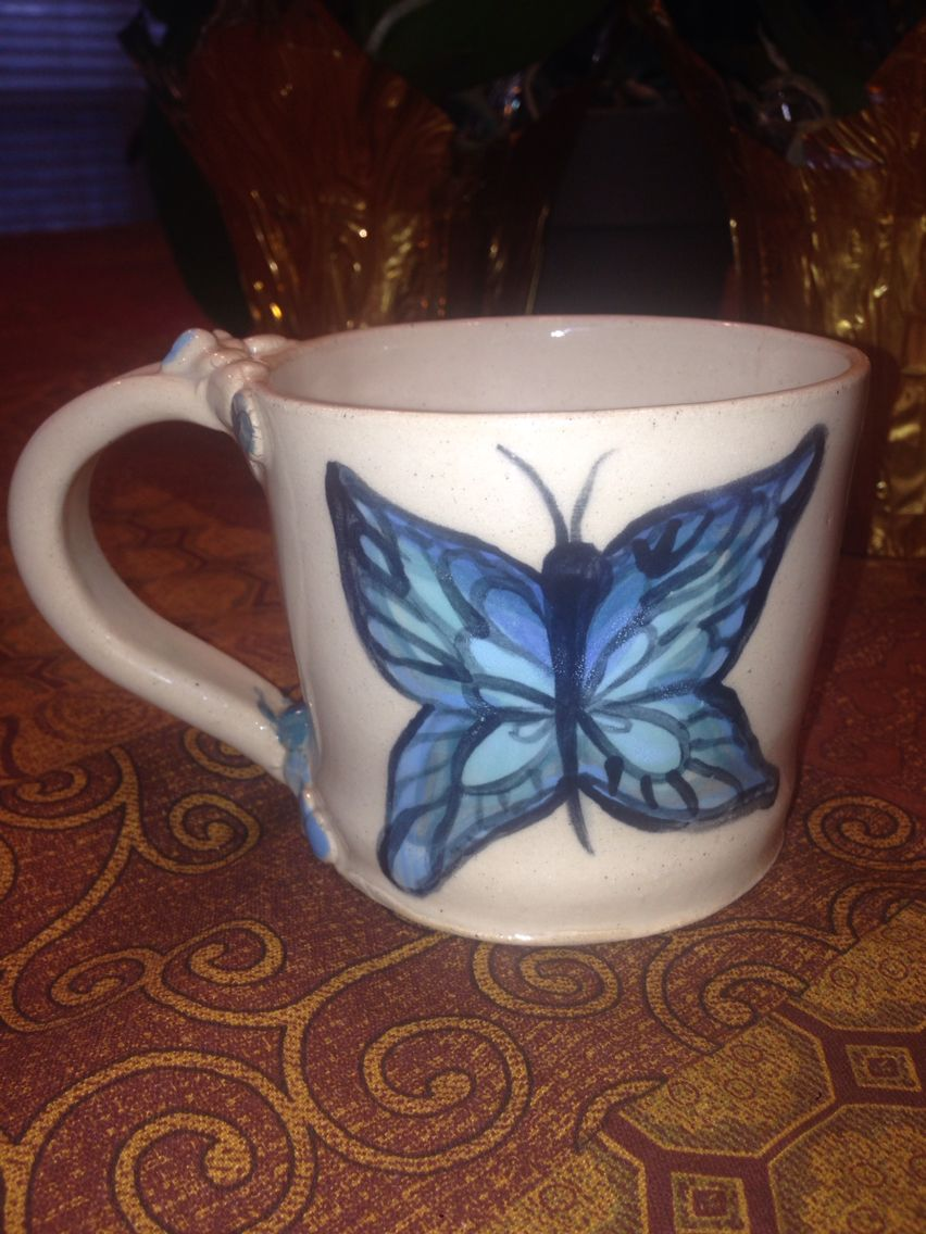 Blue butterfly coffee mug with oodles of love custom