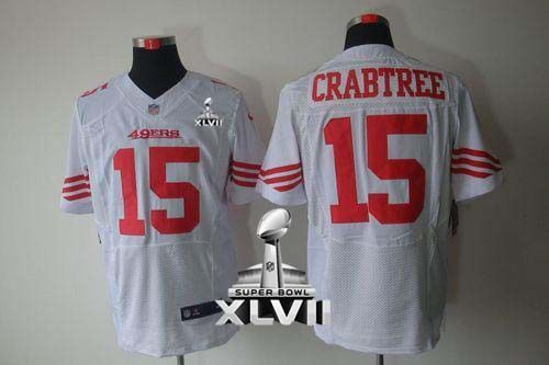 edf72b549 Nike 49ers  15 Michael Crabtree White Super Bowl XLVII Men s Embroidered NFL  Elite Jersey