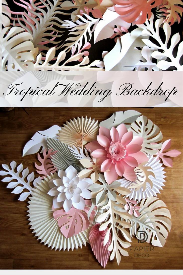 Paper Tropical Leaves Large Paper Flower Backdrop Alternative