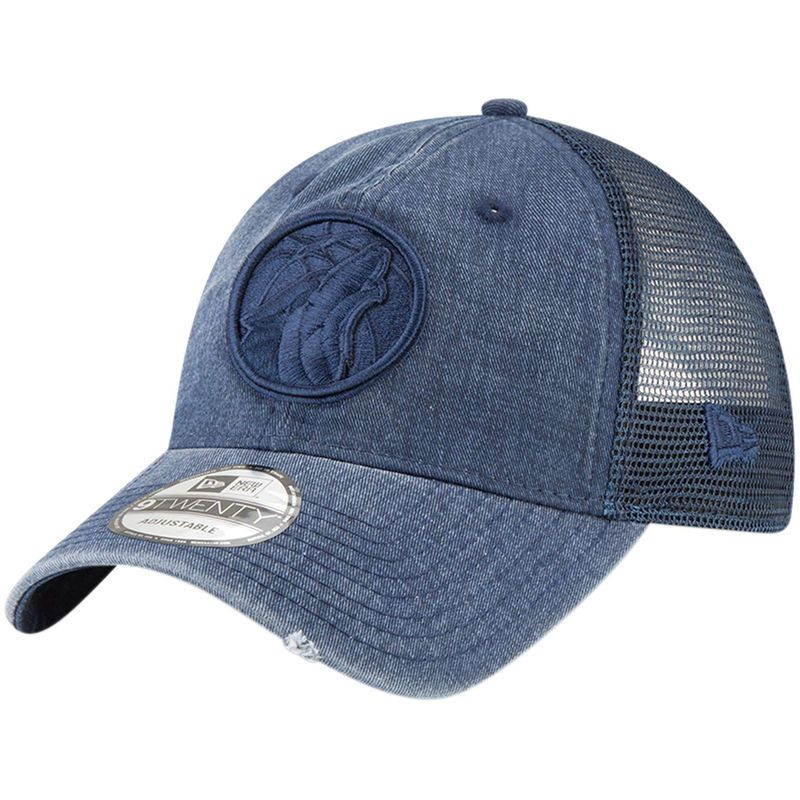 02ec89ada2e1d Minnesota Timberwolves New Era Tonal Washed Trucker 9TWENTY Adjustable  Snapback Hat - Blue