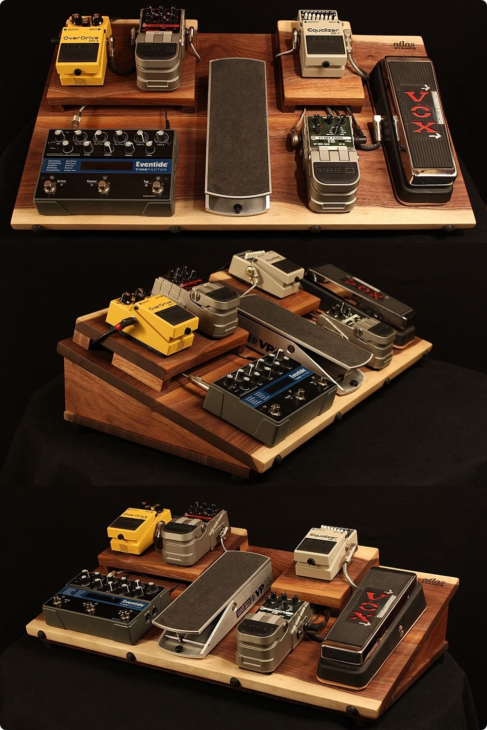 Walnut guitar effects pedal board...powered, shielded, with an on ...