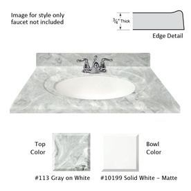 Shop US Marble Recessed Oval Standard Gray On White  Gloss Cultured Marble  Integral Single Sink Bathroom Vanity Top (Common: X Actual