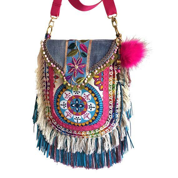 Super Ibiza tas exclusief, hippie tas met franje, handgemaakt tas van FM-42