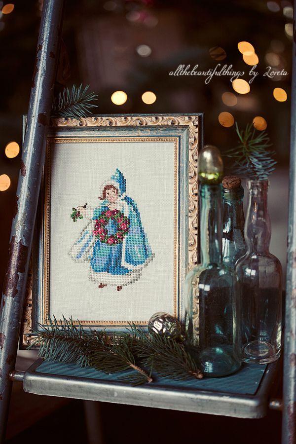 acufactum Wintermädchen by loretoidas, via Flickr #acufactum #sticken #crossstitch #kreuzstich #kundenprojekte #bewundernswert #advent #winter